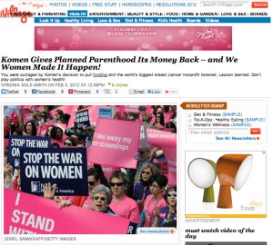"iVillage Health ""Komen Gives Planned Parenthood Its Money Back"" by Virginia Sole-Smith"