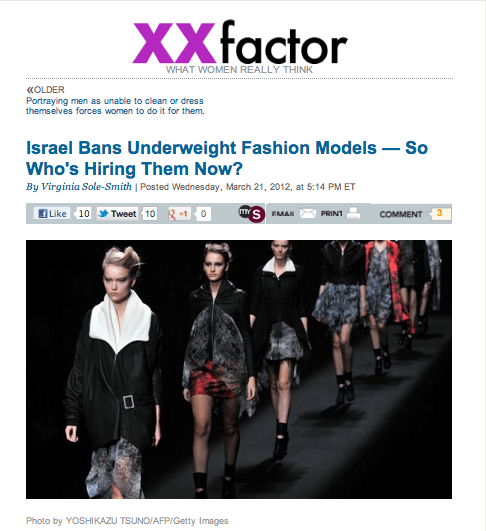 Slate XXfactor Israel Bans Underweight Models by Virginia Sole-Smith