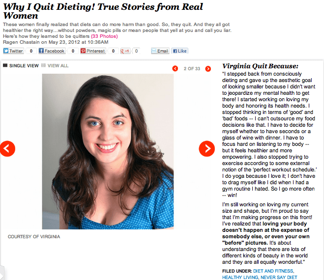 iVillage Why I Quit Dieting by Ragen Chastein with Virginia Sole-Smith