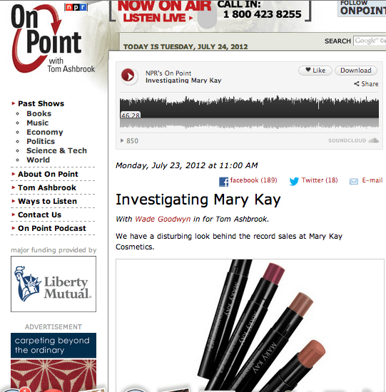 NPR On Point Virginia Sole-Smith Investigating Mary Kay