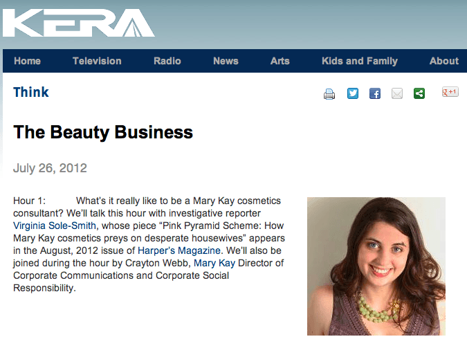 NPR KERA Think with Krys Boyd: The Beauty Business with Virginia Sole-Smith and Crayton Webb