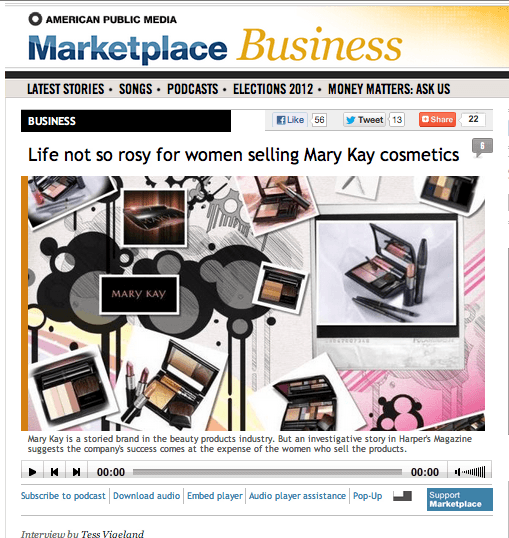 Virginia Sole-Smith Tess Vigeland NPR Marketplace Mary Kay