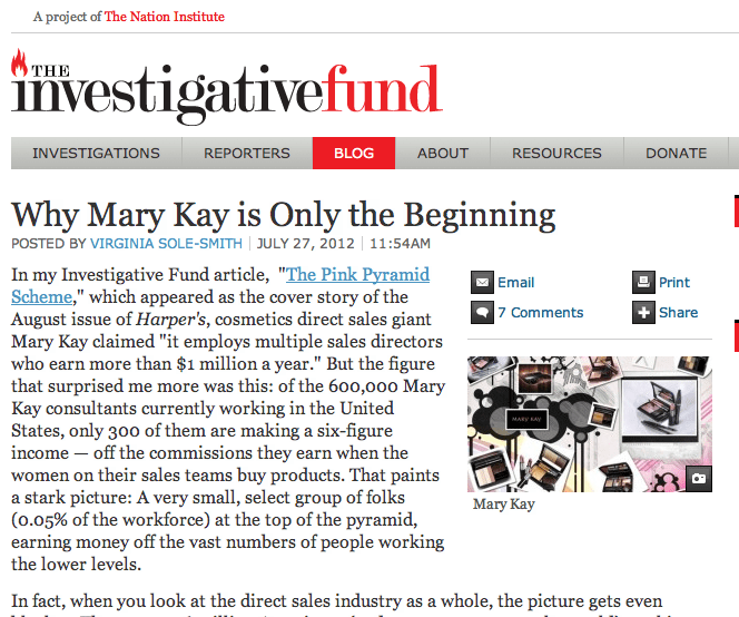 Investigative Fund Virginia Sole-Smith Mary Kay Direct Sales Industry